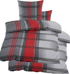4-tlg. Seersucker Bettwäsche 2x (135x200 +80x80cm), rot grau schwarz, kariert, bügelfrei, Microfaser