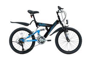 20 Zoll Kinder Jungen Mädchen Fahrrad Kinderfahrrad Mtb Mountainbike Fahrrad Rad Bike 10 GANG Beleuchtung STVO Fully VOLLFEDERUNG KDS 2600 Schwarz Blau