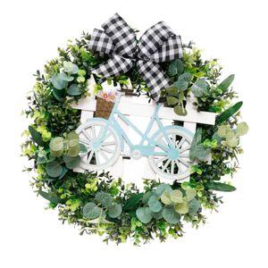 Künstliche Frühling Sommer Blume Kranz, 20 zoll Grüne Blätter Kranz für Front Tür Wand Party Weihnachten Decor Farbe Schwarz