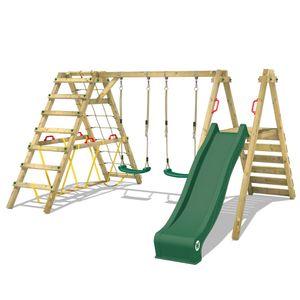 WICKEY Kinderschaukel Schaukelgestell Smart Shake mit grüner Rutsche und Kletteranbau, Schaukel, Schaukelgerüst, Doppelschaukel, Holzschaukel