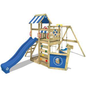 WICKEY Spielturm Klettergerüst SeaFlyer mit Schaukel & blauer Rutsche, Baumhaus mit Sandkasten, Kletterleiter & Spiel-Zubehör