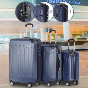 Vojagor® Koffer Trolley Set - Dunkelblau, 3 teilig groß mittelgroß klein, ABS Kunststoff, 4 Rollen, Hartschale, TSA-Schloss - Hartschalenkoffer, Reisekoffer, Kofferset