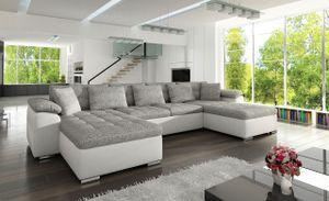Mirjan24 Ecksofa Wicenza, Design Eckcouch, Polstersofa mit Schlaffunktion, Wohnlandschaft, Stilvoll U-Form Sofa, Wohnzimmer (Soft 017 + Lawa 05)