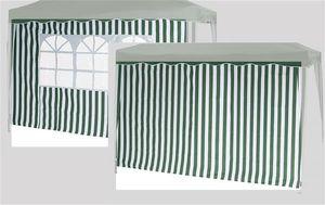 Siena Garden 553-906          Seitenteile Faltpavillon, 100% Polyester, 1x mit & 1x ohne Fenster, grün-weiß (1 Stück)
