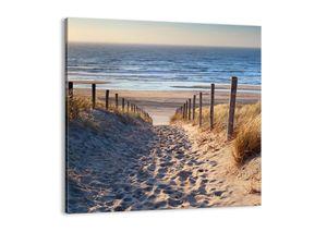 """Leinwandbild - 30x30 cm - """"Das Rauschen des Meeres, das Singen von Vögeln, ein wilder Strand zwischen den Gräsern ...""""- Wandbilder - Meer Strand Dünen  - Arttor - AC30x30-3612"""