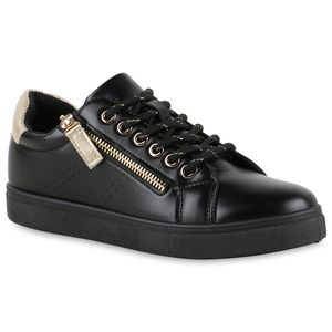 VAN HILL Damen Sneaker Low Flache Zipper Schnürer Metallic Schnür-Schuhe 837657, Farbe: Schwarz Gold Metallic, Größe: 40
