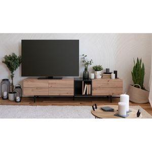 Lowboard HIfi Kommode TV Fernseher NOLA 56A Artisan Eiche Nb. / schwarz ca. 195 cm