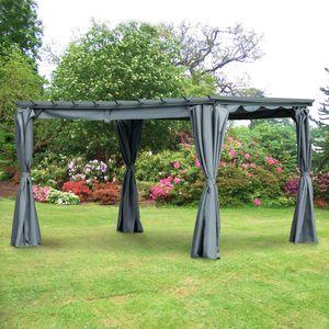 Outsunny Pergola-Pavillion mit einstellbarem Stoffdach witterungsbeständig wasserabweisend Sonnenschutz Polyester Stahl Grau 3,6 x 3 x 2,43 m