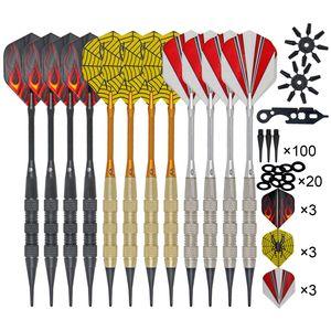 12-teiliges Dart-Dart-Flugset mit 100-teiligen Ersatz-Soft-Dart-Tipps Dart-Flugschoner O-Ringe und Schraubenschluessel-Werkzeug Indoor-Outdoor-Unterhaltungsspielzubehoer
