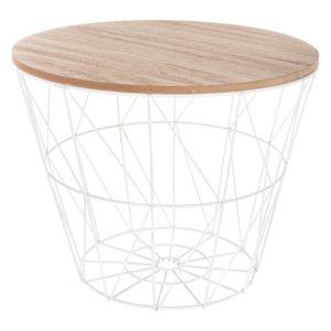 Korbtisch Metall Korb mit abnehmbarem Holzdeckel Kaffeetisch Couchtisch ⌀38cm H: 30,5cm, Farbe:weiß