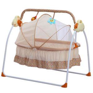 Elektrische Babywiege   Babyschaukel Drei-Stall Timing 12 Musik, Inkl. USB und Controller (enthält Batterien) Khaki für 0-18 Monate Baby (Braun)