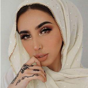 Gold Glitter Chiffon Hijab Schal Strass Schal Schal Perlen Wrap Foulard Stirnband Ganzjahres-Look,Beige