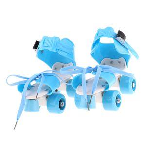 Verstellbare Quad Rollschuhe Skateschuhe Doppelreihen für Jungen Mädchen Blau 颜色: 蓝色 Größe 4