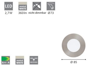 EGLO FUEVA 1 LED Einbauspot Ø85, 1-flg., nickel-matt,LED Platine,A++,95465