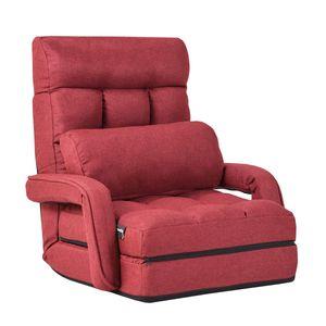 COSTWAY Klappsofa verstellbar, Bodenstuhlsofa mit Armlehnen und Kissen, Rot