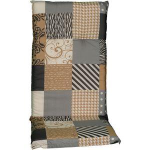 Gartenstuhl-Auflage Barcelona – Hochlehnerauflage für Gartenstühle, Dessin:Coffee Patchwork, Anzahl:1x