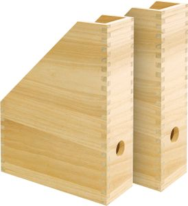 VBS 2er-Pack Holz-Stehsammler, Steh-Ordner mit Griffloch 30,5x25x9cm unbehandelt
