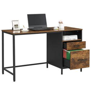 VASAGLE Schreibtisch mit Aktenschrank, mit Schubladen, für Büro, Homeoffice, Computertisch, Industriestil, vintagebraun-schwarz LWD052B01YC