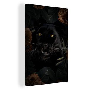 Leinwandbild - Panther - Tiere - Blumen - 40x60 cm - Foto auf Leinwand - Gemälde auf Holzrahmen