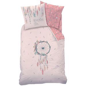 Traumfänger Bettwäsche Set 80x80 + 135x200 · Bohemian Style, Dreamcatcher, Federn & Blumen · Renforce Bettwäsche für Mädchen / Frauen · 100% Baumwolle