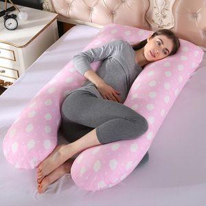 U Form Kopfkissen Stillkissen für Schwangere mit Kissenbezug 60×120 cm,Rosa Wolken