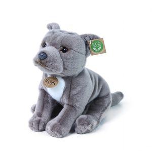 Pitbull sitzend 30 cm grau Kuscheltier Hund American Staffordshire Terrier