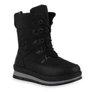 Mytrendshoe Damen Stiefeletten Warm Gefütterte Winter Boots Gesteppte Stiefel 836046, Farbe: Schwarz, Größe: 40