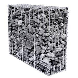 SONGMICS Gabione aus verzinkten Stahl 100 x 80 x 30cm Maschenweite 10×5cm Steinwand Steinzaun Gartengabionen Steinmauer Drahtkorb GGB183