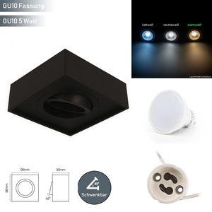 LED line Deckenleuchte CUBO MIDI Einbaustrahler Unterputz Leuchte Strahler Schwenkbar 45° Eckig Schwarz aus Aluminium mit Fassung GU10 5W Leuchtmittel Warmweiß