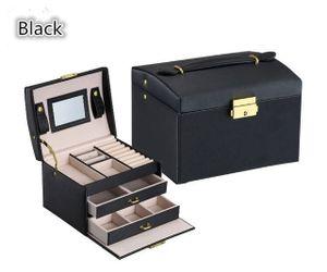 Schmuck Aufbewahrungsbox, dreischichtige Leder Schmuckschatulle mit Spiegel (schwarz)