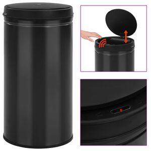 Automatischer Sensor-Mülleimer 60 L Kohlenstoffstahl Schwarz