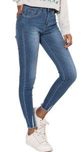 Damen Skinny Denim Ankle Jeans Stretch Waist Slim Crop Röhrenjeans Schmale Destroyed Fransen Hose, Farben:Blau, Größe:40