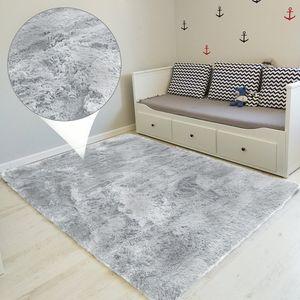 Hochflor Teppich 160x230 cm Langflor Shaggy Teppiche für Wohnzimmer flauschig Bettvorleger Schlafzimmer Hellgrau