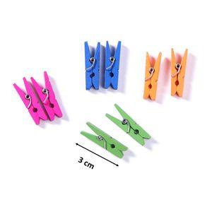Mini-Holzklammer - Bunt - 3 cm - 100 Stück