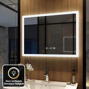 Meykoers LED Badspiegel 80x60cm Badspiegel mit Beleuchtung 3 Lichtfarbe 3000-6500K Lichtspiegel Badezimmerspiegel Wandspiegel mit Touchschalter, Beschlagfrei und Uhr IP44 energiesparend