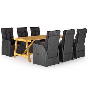 Gartenmöbel Essgruppe 6 Personen ,7-TLG. Terrassenmöbel Balkonset Sitzgruppe: Tisch mit 6 Stühle, Schwarz❀1677