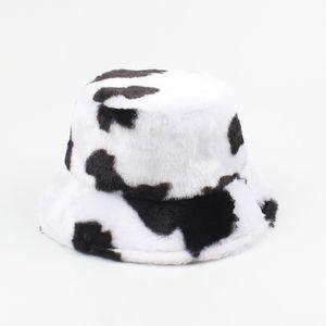 Frauen Winter Bucket Hat Cow Print Verstellbare warme Pluesch Fisherman Cap Komfortable Casual Hat