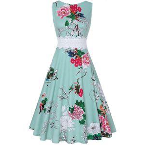 Ärmelloses Rundhals-Kleid mit Rundhalsausschnitt und Temperamentsaum für Damen Größe:XL,Farbe:Grün