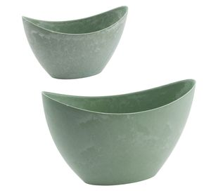 Kunststoffschale Beton/grün: 2 Stück - 28 und 20cm