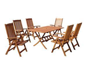 Grasekamp Gartenmöbelgruppe Cuba 7 teilig  Holz Sitzgruppe Essgruppe