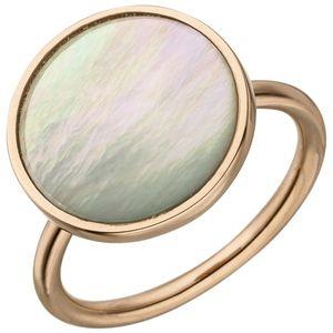 JOBO Damen Ring 56mm 925 Sterling Silber rotgold vergoldet 1 Perlmutt-Einlage