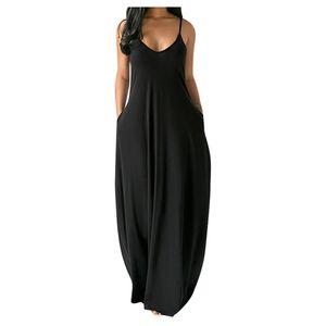 Mode Frauen y Plus Size Feste Ärmellose O-Neck Taschen Camisole Langes Kleid Größe:XXXXL,Farbe:Schwarz