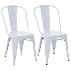 2x Stuhl HWC-A73, Bistrostuhl Stapelstuhl, Metall Industriedesign stapelbar  weiß