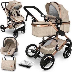KIDUKU® 3 in 1 Kombi-Kinderwagen Beige/Gold Buggy Reisebuggy inkl. Auto- Babyschale Faltbar