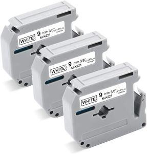 UniPlus 3x Kompatibel Schriftband als Ersatz für Brother M-K221 MK221 M-K221S Nicht-laminiertes für Brother PT-90 PT-M95 PT-80 PT-65 PT-85 PT-75 PT-BB4 PT-100 PT-110, 9mm x 8m, Schwarz auf Weiß