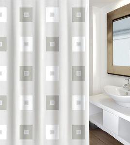 """MSV Premium 142104 Anti-Schimmel Textil Duschvorhang - Anti-Bakteriell, waschbar, 100% wasserdicht, mit 12 Duschvorhangringen - Polyester, """"Blocks"""" 180x200cm –  Spain"""