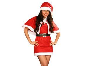 Damen Weihnachtskostüm X-Mas Outfit Weihnachtskleid mit Cape 4-teilig 75