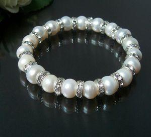 Armband Perlenarmband weiß Zuchtperlen 8mm Strass klar dehnbar A1535