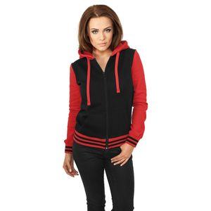 Urban Classics Ladies 2-Tone Damen Collegejacke Mit Kapuze, Größe: S; Farbe: Black/Red