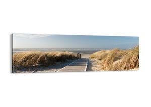 "Leinwandbild - 160x50 cm - ""Hinter der Düne, im Rascheln des Grases""- Wandbilder - Meer Strand Düne - Arttor - AB160x50-2657"